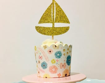 12ct Nautica cupcake toppers, boat cupcake toppers, Marine cupcake toppers, Sea cupcake toppers
