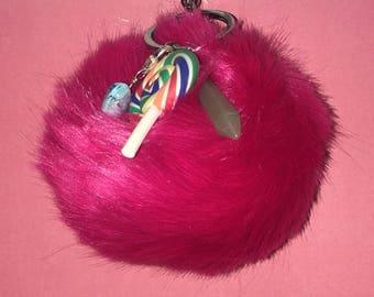 Dark Pink Lollipop Pendent PomPom Keychain