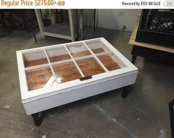 SUMMER SALE window shadow box coffee table - rustic coffee tables - coffee table with storage - shabby chic coffee table - rustic coffee tab