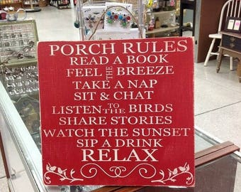 SUMMER SALE porch rules sign - rustic porch rules sign - deck rules sign - patio sign - porch sign - fall sign - fall signs - porch decor -