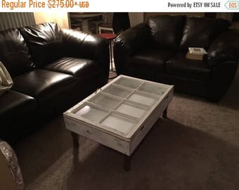 ON SALE Rustic Coffee Table   Shadow Box Coffee Table   Reclaimed Windows    Window Coffee