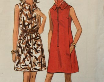 Butterick 5208 misses A-line dress size 12 bust 34 or size 18 bust 40 vintage 1960's sewing pattern