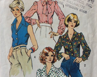 Simplicity 6161 vintage 1970's misses blouse sewing pattern size 12 bust 34