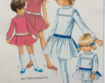 Simplicity 7921 girls dress size 3 vintage 1960's sewing pattern