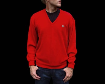 Vintage Lacoste V-Neck Sweater - Pullover Style - 1980's Izod Pullover - Bright Cherry Red - Alligator Logo - Men's Size Extra Large (XL)