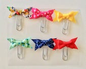 Mini Bow Paperclips - Planner Accessory - Travelers Notebook Accessory - Mini Paperclips - Fabric Bow Paperclips