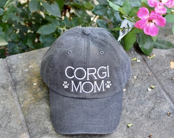Corgi Mom Dog Lover Baseball Cap || Any Breed Embroidered with Paw Prints || Dog Mom Monogram Gift by Three Spoiled Dogs Made in USA