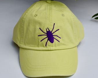 Halloween Spider Embroidered on Bright Green Baseball Cap || Custom Gift by Three Spoiled Dogs Made in USA