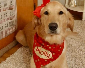 Holiday Polka Dots Name Gold Glitter Dog Bandana Jingle Bell || Polka Dots Sparkle Reversible Holiday Pet Scarf || Personalized Christmas