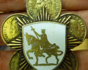H5 Vintage King on Horse Enameled Shield on 8 Point Star on 5 Gold Plated Canadian Cent Pin.