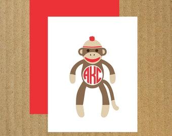 Sock Monkey Cards, Set of 10, Monogram Sock Monkey, Monogram Note Cards, Sock Monkey, Thank You Cards, Baby Thank You Cards, Monkey Birthday