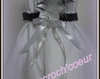 Garter in black white and blue
