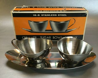 New Vintage Stainless Steel Cream Pitcher and Sugar Bowl on Tray Danish Modern