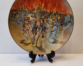 """Authentic Artist Signed Yiannis Koutsis Collectors Plate """"Sodom and Gomorrah"""" Plate Number 7940CE THE CREATION Series Royal Cornwall China"""