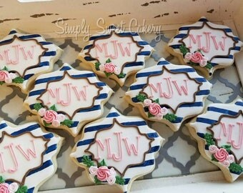 Monogram Cookies/stripes/bridal/baby/plaques