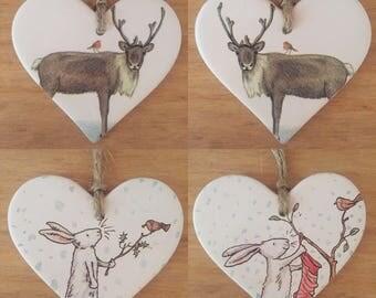 Handfinished Ceramic Hanging Heart Decoration- Various Christmas Designs- Christmas Decoration