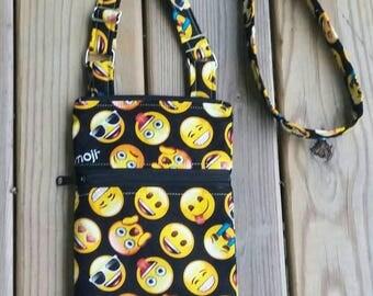 Emoji Bags, Emoji cross body Bag, Emoji Hipsters, iPhone bag, cell phone bag, Emoji crossbody bag