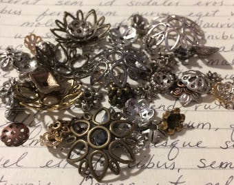 Destash Mixed Metal Bead Caps 50 Pieces