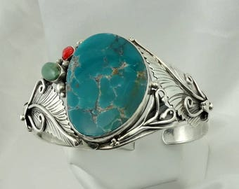 Stunning Southwest Native American Sterling Silver Turquoise and Coral Cuff Bracelet  #BLUE-ELP2