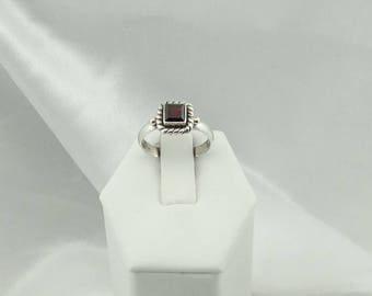 Simple Natural Garnet Set In A Sterling Silver Ring Size 6 3/4  #GARNET-SR2