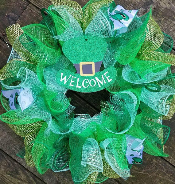 Saint Patrick's Day Wreath, St. Patrick Wreath, Clover Wreath, Holiday Wreath, Deco Mesh Wreath, Irish Wreath, Ribbon Wreath, Clover