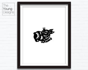 Chinese Zodiac Rabbit, Astrology Animal Sign, Birthday Year printable posters, INSTANT DOWNLOAD, paper cutting style, Birthday gift ideas