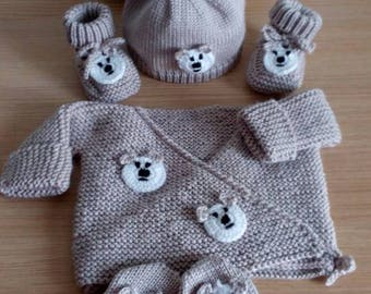 all jacket bonnet mittens and booties 0/3 months