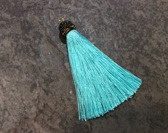 Turquoise Blue silk tassels with decorative beaded silver cap Beautiful tassels for Jewelry Making
