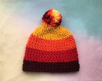 Crocheted striped winter beanie!