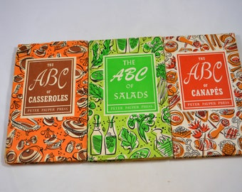 ABC of Casseroles Salads Canapes SET of 3 Peter Pauper Press Cookbooks With Dust Covers 1950s Cookbooks