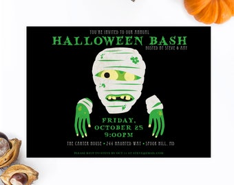 Halloween Invites, Halloween Party Invitations, Kids Halloween Party Invites, Zombie, Mummy, Costume Party Invites, Kids Costume Party [46]