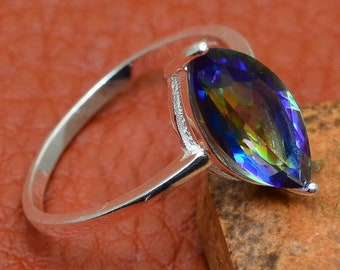 Rainbow Topaz Gemstone in 100% Solid 925 Sterling Silver SZ 10 Ring