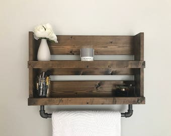 Bathroom Shelf With Pipe Towel Bar Rustic, Industrial Bathroom Shelf, Bathroom  Shelf, Bathroom