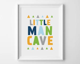 Little man cave print, Nursery printable, Man cave sign, Little boy decor, Boy nursery, Boy room art, Printable art, Nursery wall art