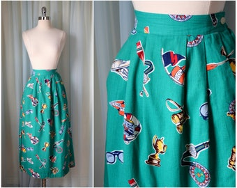 vintage 1980s green nautical preppy skirt | XLarge | vint 80s graphic novelty print | summer skirt | cotton pleated skirt | with pockets