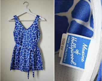 vtg 80s blue & white animal print swimsuit | small | Maxine of Hollywood One Piece Bathing Suit | Resort Wear | Beachwear | 80s Swimwear