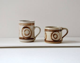 Abaty pottery cup set. Studio pottery mugs from wales, small and tall for different size preferences under one roof