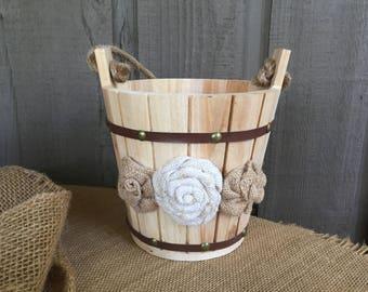 Wedding bucket/ flower girl basket/ flower girl bucket/ rustic basket/ rustic wedding/ rustic bucket/ sparkler bucket/ wedding bucket/basket