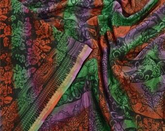 KK Indian Printed Saree Pure Silk Craft Black Fabric Zari Border Sari