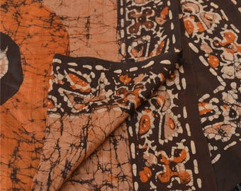 KK Dupatta Long Stole Pure Silk Saffron Wrap Shawl Batik Scarves
