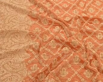 KK Heavy Dupatta Tissue Stole Hand Beaded Orange Zardozi