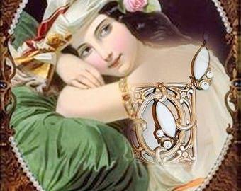 Long necklace art nouveau - WINDINGS ARABESQUES SCROLLS!
