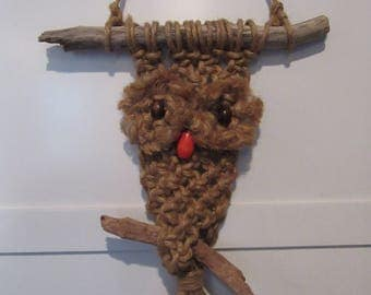 Mid Century Jute Owl Macrame Wall Hanging-Vintage Rustic Owl Macrame Hanging with Graying Branches Wood Bead Eyes and Nose-Hippie Owl Decor