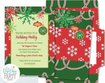 Digital Party Printable: Editable Christmas Snowflake Party Invitation, 5x7in. Instant Download