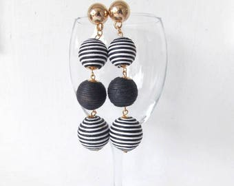 Black and White Thread Ball Earrings