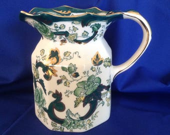 A Vintage Masons Ironstone Hydra Chartreuse  Water Jug. Measure 5.5inches high. Very Colourful Pattern in Excellent Condition.