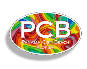 Panama City Beach Retro PCB Sticker Custom Printed Oval Decal Cup Cooler Car Truck Laptop Graphic Florida FL
