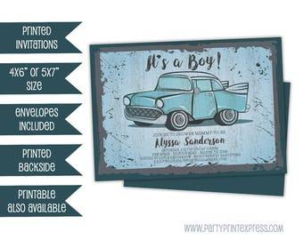 Vintage Car Baby Shower Invitations - Retro Truck Baby Shower Invitations - Gas Station Sign Baby Shower Invite - Blue Boy Baby Shower
