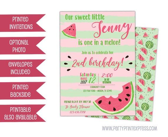 items similar to watermelon birthday invitation - watermelon, Birthday invitations
