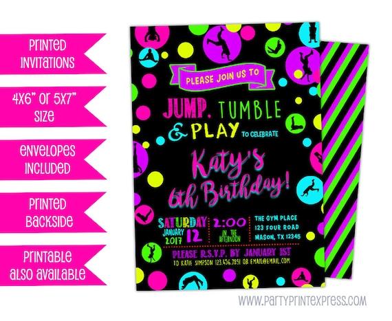 Girl gym birthday invitations jump tumble play invite glow il570xn stopboris Images
